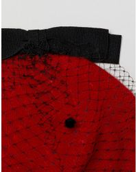 Helene Berman - Red Hat With Veil And Grosgrain Bow - Lyst