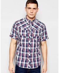 G-Star RAW | Shirt Arc 3d Short Sleeve Western Blue Check for Men | Lyst