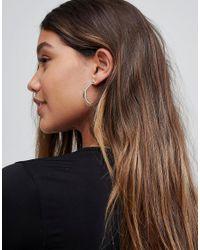 ASOS - Metallic Geo Insert Hoop Earrings - Lyst
