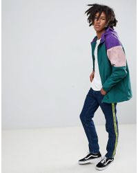 Pull&Bear - Nylon Jacket With Coloured Panels In Green for Men - Lyst