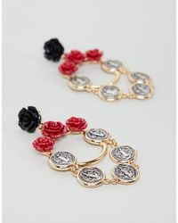 ASOS - Metallic Design Rose And Coin Chain Drop Earrings - Lyst