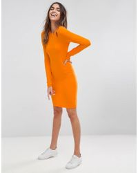 ASOS - Orange Asos Mini Cut Out Shoulder Bodycon Dress - Lyst