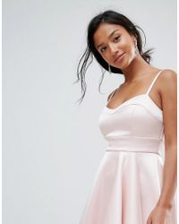 ASOS - Pink Satin Scuba Seamed Waterfall Debutante Midi Dress - Lyst