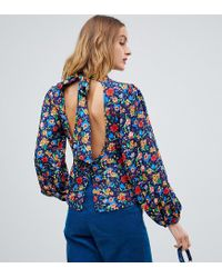 Reclaimed (vintage) - Blue Inspired High Neck Blouse In Floral Print - Lyst