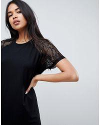 ASOS - Black T-shirt Dress With Lace Raglan Sleeve - Lyst