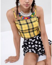ASOS - Metallic Design Statement Engraved Collar Necklace With Pom Poms - Lyst