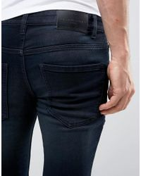 Solid Blue Skinny Jeans In Indigo With Stretch for men