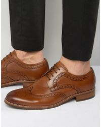 Dune - Brown Radcliffe Leather Derby Brogue Shoes for Men - Lyst