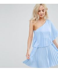 ASOS - Blue One Shoulder Pleat Mini Dress - Lyst