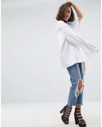 ASOS - White T-shirt With Dramatic Ruched Ruffle Detail - Lyst