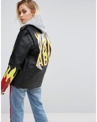 The Ragged Priest | Black Label Premium Leather Jacket With Handpainted Flames | Lyst