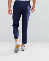ASOS - Blue Slim Crop Smart Pants In Navy Texture for Men - Lyst