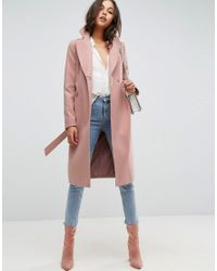 ASOS - Pink Midi Skater Coat With Luxe Faux Fur Trim - Lyst