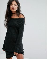 Pull&Bear - Gray Off The Shoulder Knitted Dress - Lyst
