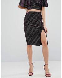 New Look - Purple Sparkle Bodycon Skirt - Lyst