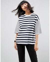 ASOS | Multicolor T-shirt In Boxy Fit And Cut About Stripe | Lyst