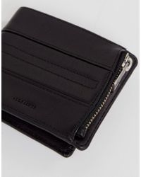 AllSaints - Black Havoc Wallet In Leather With Zip Compartment for Men - Lyst