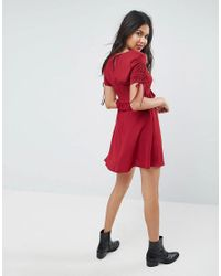 ASOS - Red Asos 40s Mini Tea Dress With Ruffle Detail - Lyst