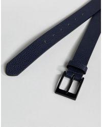 ASOS - Blue Smart Slim Belt With Pebble Grain Emboss In Navy Faux Leather for Men - Lyst