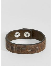 DIESEL - Brown Leather Logo Bracelet for Men - Lyst
