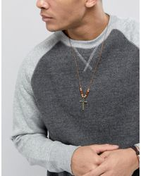 Classics 77 - Brown Cross Pendant Necklace for Men - Lyst