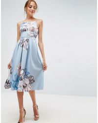 ASOS - Blue Strappy Pinny Floral Midi Debutante Dress - Lyst