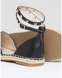Truffle Collection - Black Embriodered Stud Ankle Espadrille - Lyst