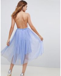 ASOS DESIGN - Blue Asos Premium Scuba Pinny Midi Tulle Dress - Lyst
