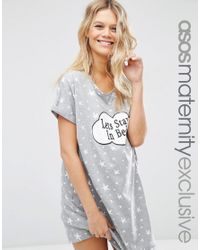 ASOS - Gray Let's Stay In Bed Nightie - Grey - Lyst