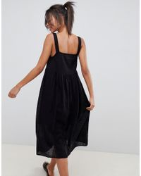 ASOS - Black Asos Design Tall Casual Smock Midi Sundress In Grid Texture With Knot Tie - Lyst