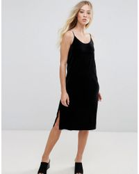bd35a23ebab0 good looking dbc3f 9b08c Lyst - B.Young Velvet Slip Dress in Black; famous  brand 68b36 986af Lyst - Asos Denim Cross Back Halter Midi ...