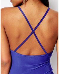 Club L - Blue Cross Back Maxi Dress - Lyst