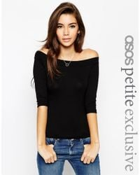 ASOS | Black Top With Bardot Neck And 3/4 Sleeves | Lyst