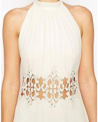 ASOS - Natural Halter Lace Maxi Dress - Lyst