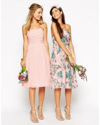 ASOS - Pink Wedding Midi Dress With Ruched Wrap Front - Lyst