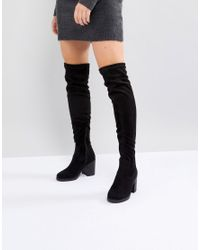 a1746a80737 Truffle Collection Chunky Heel Stretch Over Knee Boot in Black - Lyst