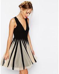 ASOS | Black Mesh Insert Fit And Flare V Neck Mini Dress | Lyst