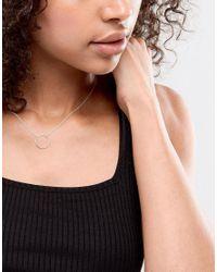 Monki - Metallic Sterling Silver Circle Pendant Necklace - Lyst