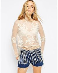 ASOS - Multicolor Festival Top With Embroidery And Fringing - Lyst