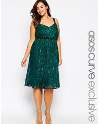 ASOS | Green Curve Floral Jacquard Wrap Dress With Pleats | Lyst