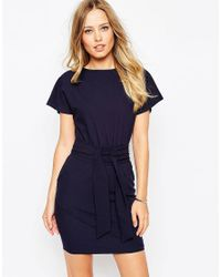 ASOS   Blue Pencil Dress With Wrap Skirt And Obi Belt   Lyst