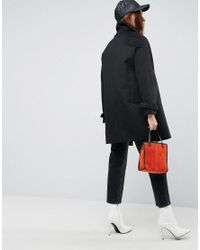 ASOS DESIGN - Black Oversized Coat With Buckle Funnel Neck - Lyst