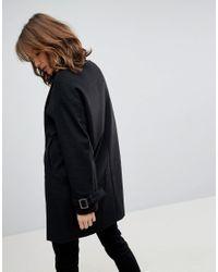 ASOS - Black Asos Oversized Coat With Buckle Funnel Neck - Lyst