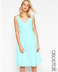 ASOS | Blue 50's Belted Prom Dress | Lyst