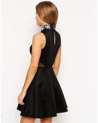 ASOS | Black Embellished High Neck Skater Dress | Lyst
