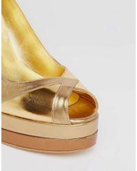 Terry De Havilland | Metallic Luna Gold Peep Toe Heeled Shoes | Lyst