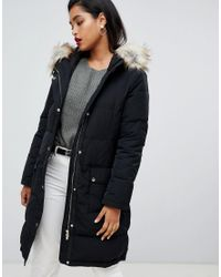 Vila - Black Down Padded Jacket With Faux Fur - Lyst