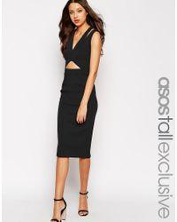 ASOS | Black Tall Structured Plunge Midi Dress | Lyst