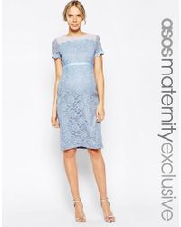 ASOS | Blue Body-conscious Dress In Lace With Chiffon | Lyst