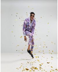Noose And Monkey - Purple Super Skinny Suit Jacket In Print for Men - Lyst